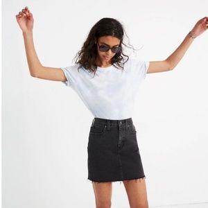 Madewell Black Denim Mini Skirt with Raw Hem